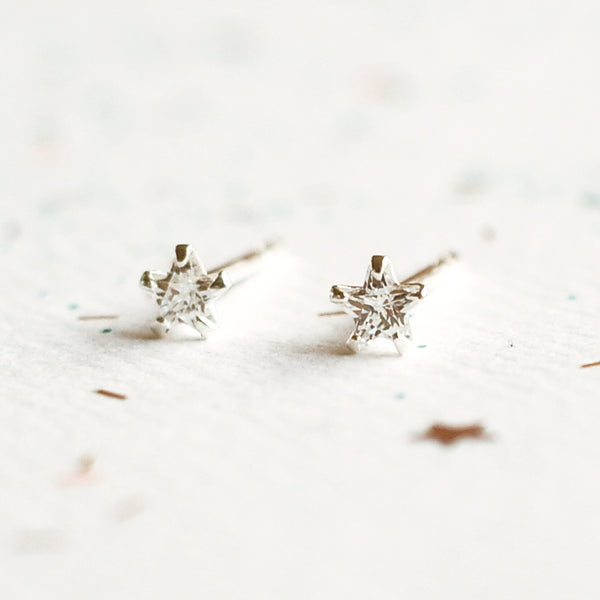 Diamante Star Earrings - Sterling Silver