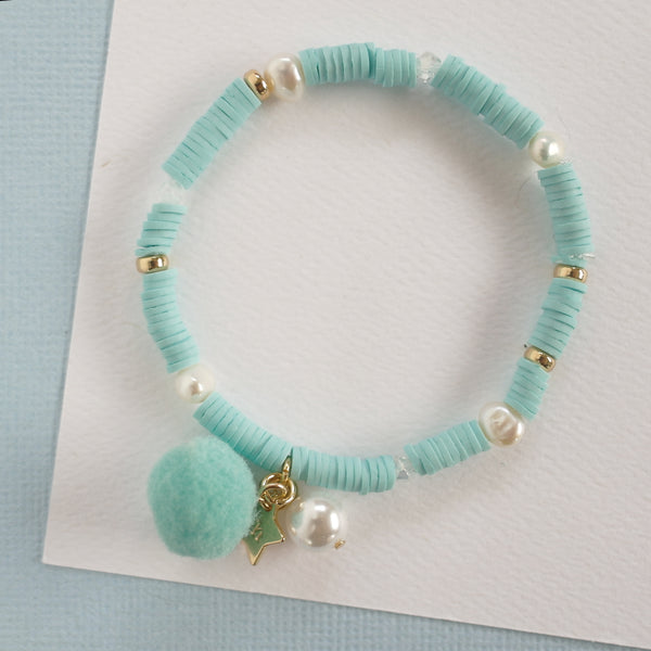Aqua Blue Bracelet with Pom Pom and Pearl