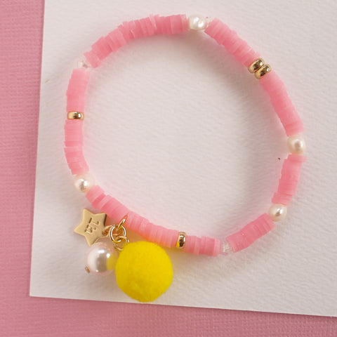 Pink Bracelet with Pom Pom and Pearl