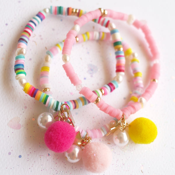 Rainbow Bracelet with Pom Pom and Pearl