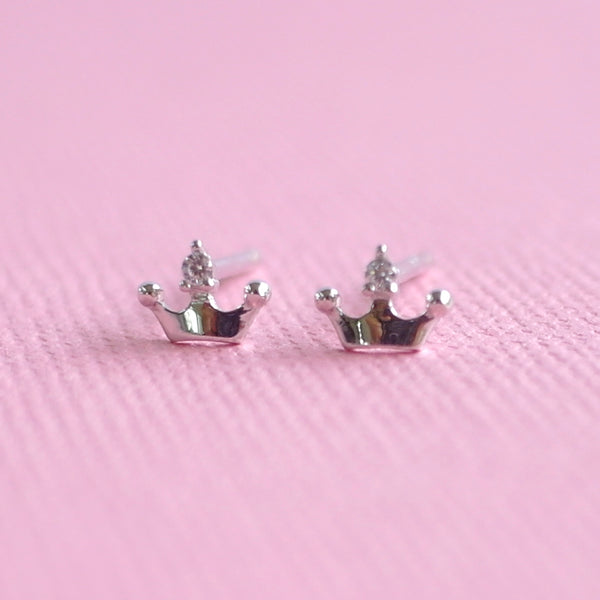 Diamanté Crown Earrings - Sterling Silver