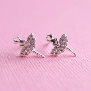 Diamanté Ballerina Earrings - Sterling Silver