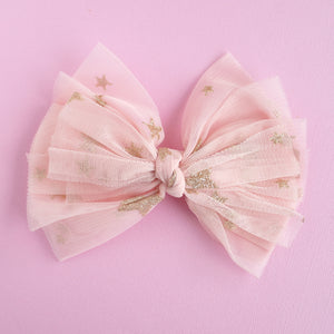 Pink and Gold Stars Bow