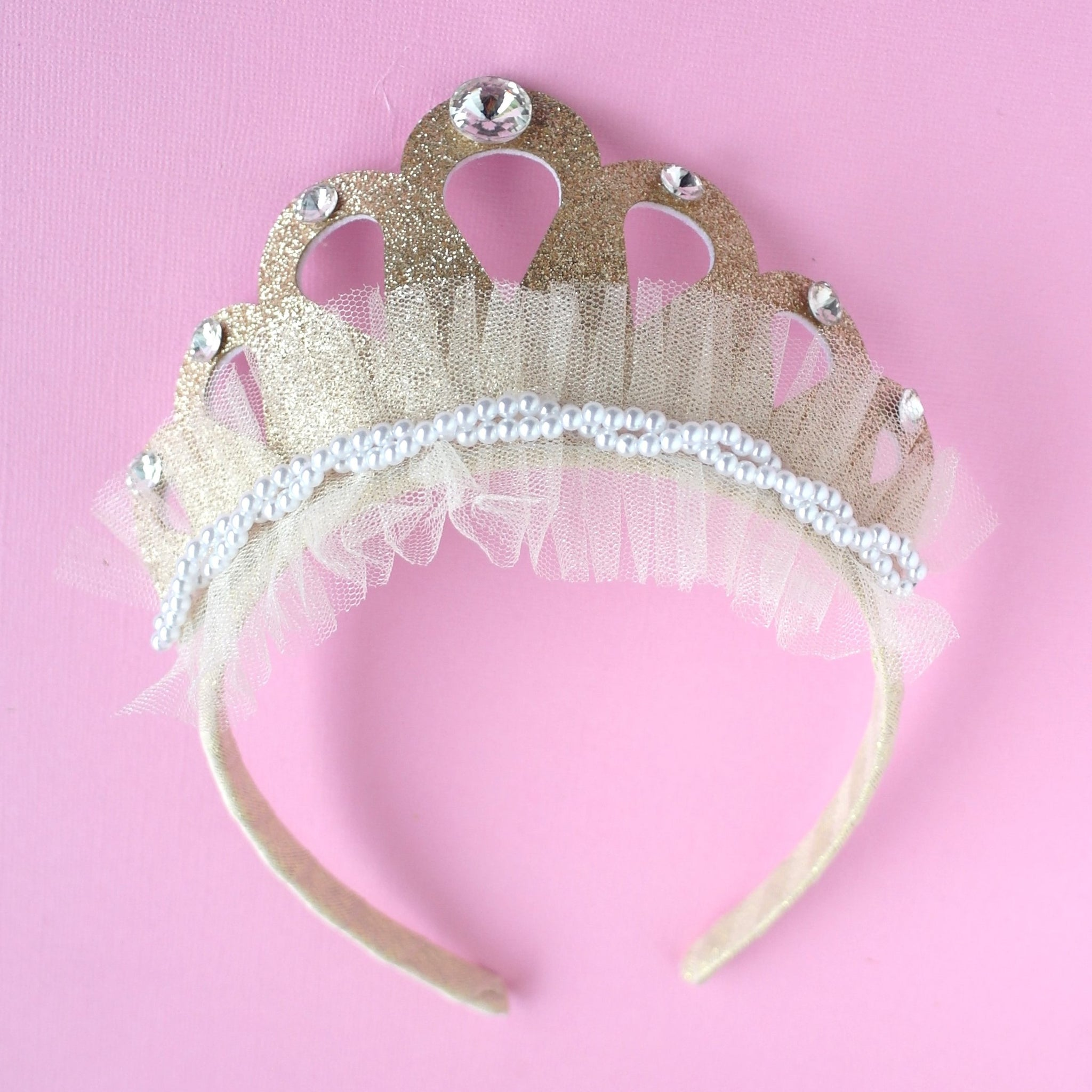 Gold Pearl and Tulle Crown