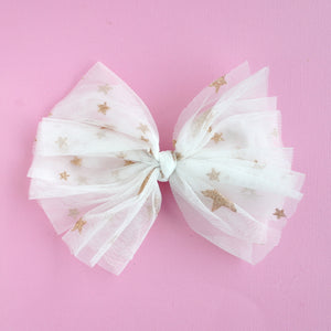 White and Gold Stars Bow
