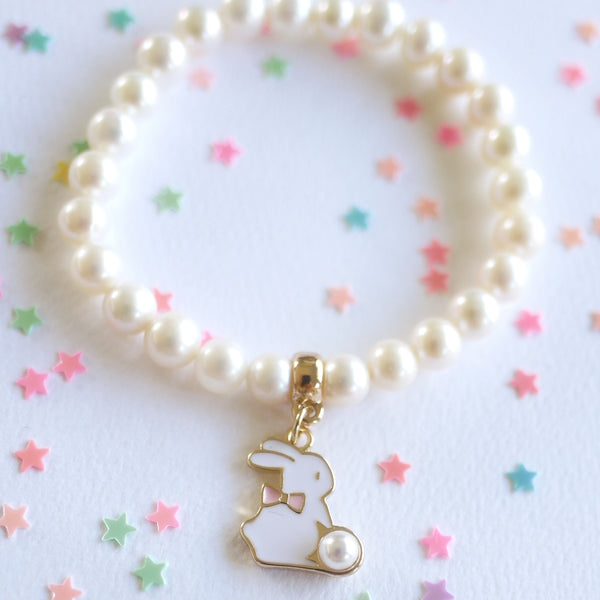 Freshwater Pearl Bunny Charm Bracelet- preorder Back in stock 16th March