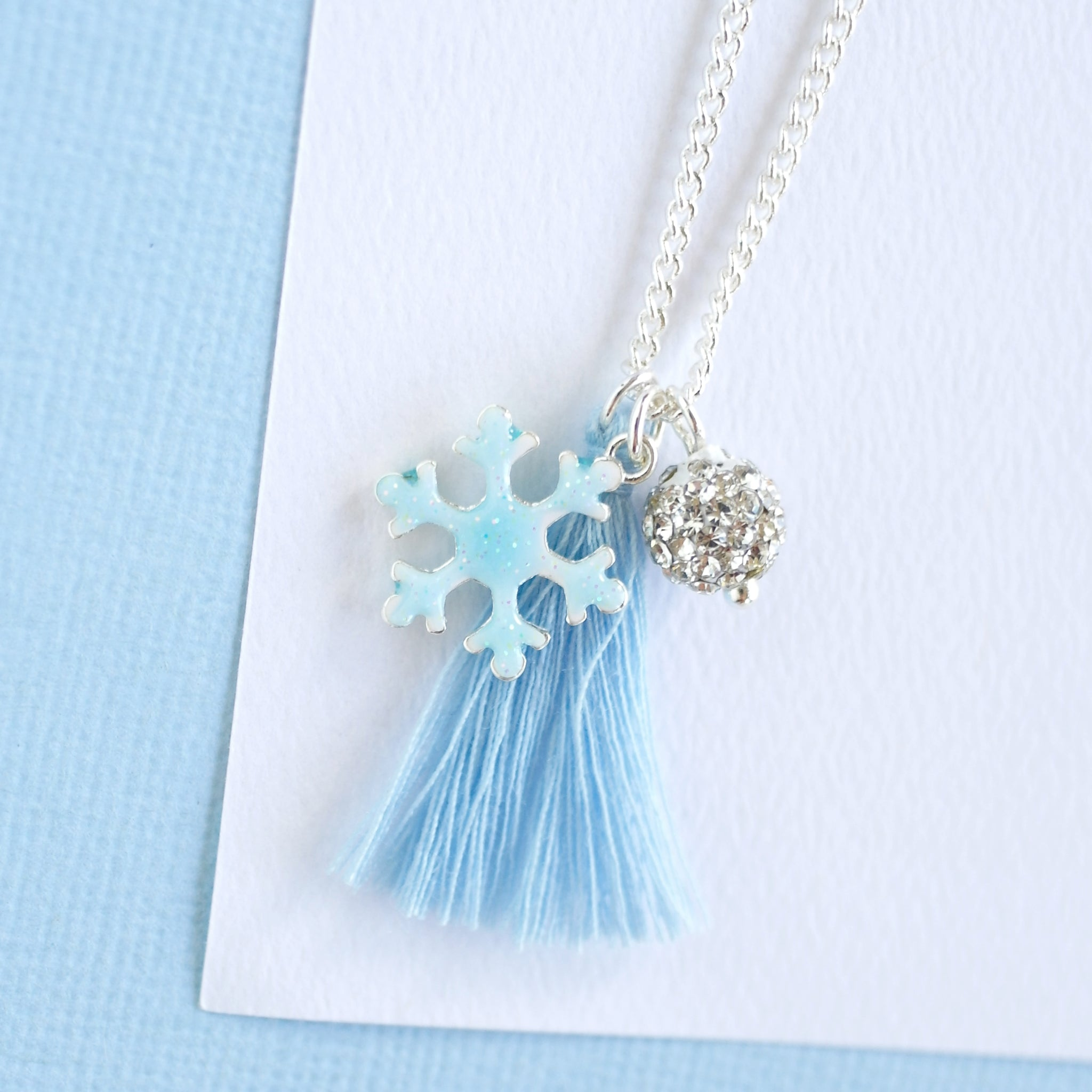 Snowflake 2- light blue Necklace