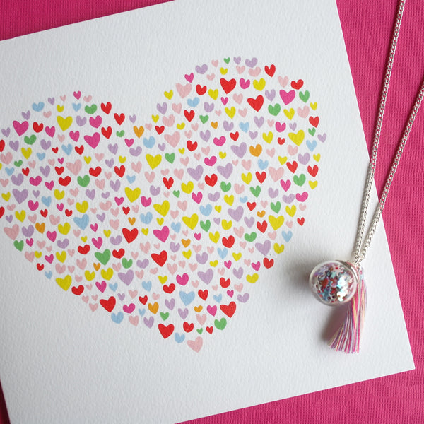 Confetti Hearts Card Large Gift Card