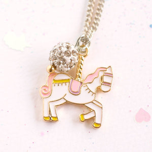 Unicorn Carousel Silver Necklace