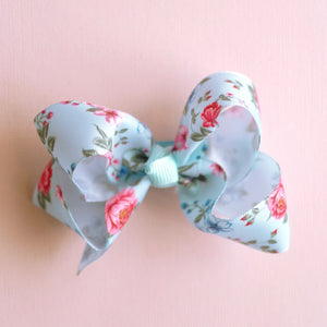 Blue Floral Bow - Set of 2