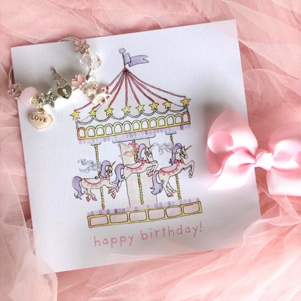 Unicorn Carousel Happy Birthday Card