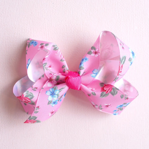Deep Pink Floral Bow - Set of 2