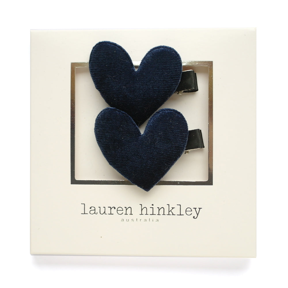 Navy Heart Hair Clips - Set of 2