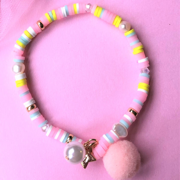 Pastel Pink Bracelet with Pom Pom and Pearl