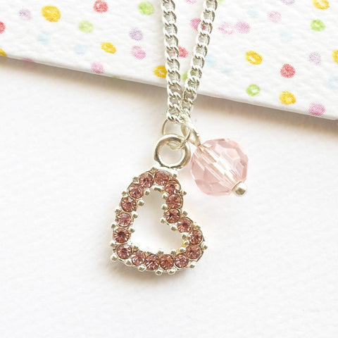 Pink Diamante Heart Necklace
