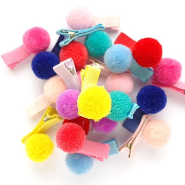 Pom Pom Hair Clips - Set of 2 Various colours available