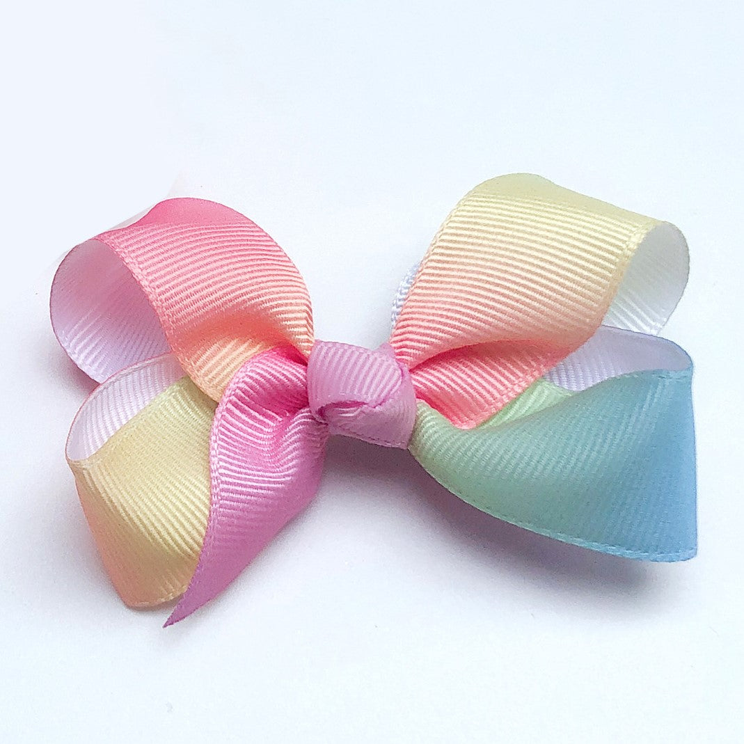 Small Grosgrain Pastel Rainbow Bows - Set of 2