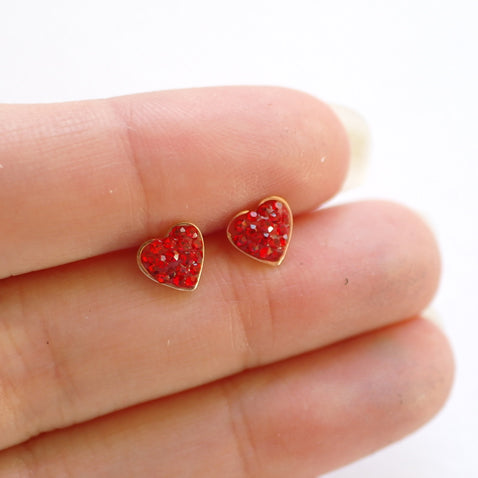 Red Heart Crystal Stud