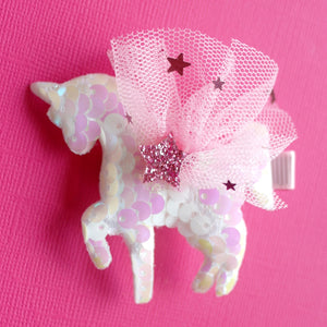 Sequin Unicorn Hair Clip-  White/Pink NEW