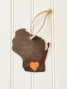 Handmade Wisconsin Ornament