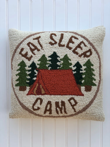 Eat Sleep Camp Pillow