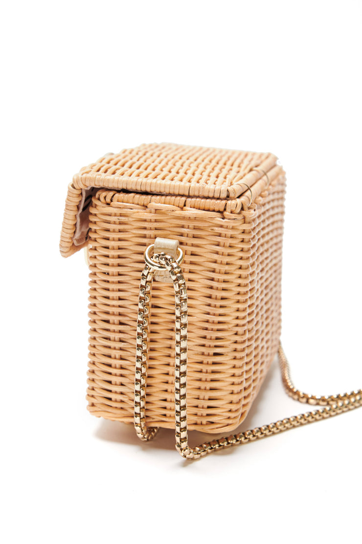 poppy wicker basket bag side
