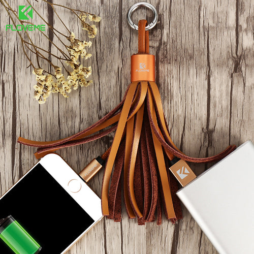 Genuine Leather Tassel Pocket Accessories Cable For iPhone