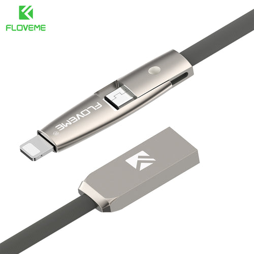 FLOVEMETEK 2 in 1 Flat Cable For iPhone 7 6 6s Plus 5 5s iPad Air Pro Portable Cord For Charging Micro USB Cables For Samsung S7 S6