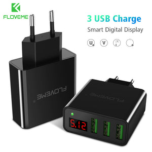 3-Ports Professional Smart Digital USB Fast Charger Portable Charging Travel