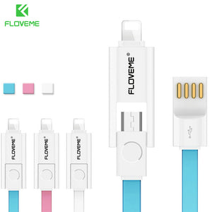 FLOVEMETEK 2 in 1 Micro USB Cable + Lighting Data USB Charger Cable For iPhone 7 Samsung Xiaomi Fast Charger Cabo USB Phone Cables