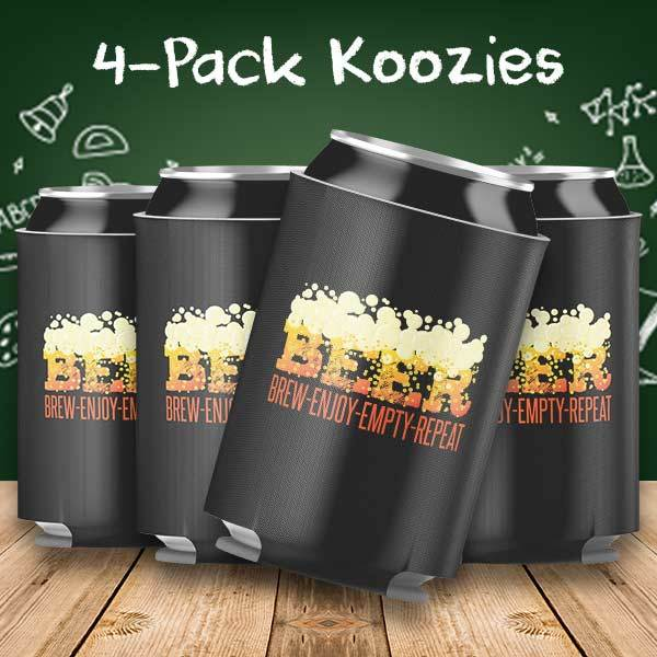 Beer Brew Enjoy Empty Repeat 4-Pack Can Coolers