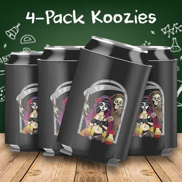 Catrina and Grim 4-Pack Can Coolers