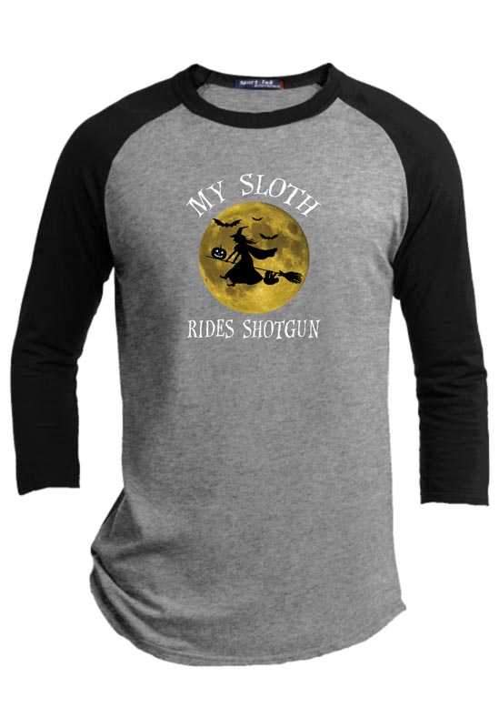 My Sloth Rides Shotgun Halloween Raglan