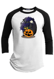 Cat and Pumpkin Halloween Youth Raglan