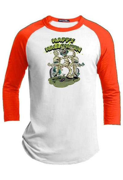 Mummy Attack  Halloween Youth Raglan