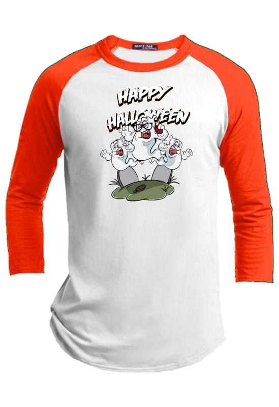 Ghost Trio  Halloween Youth Raglan