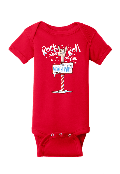 Rock and Roll at the North Pole Christmas Baby One Piece