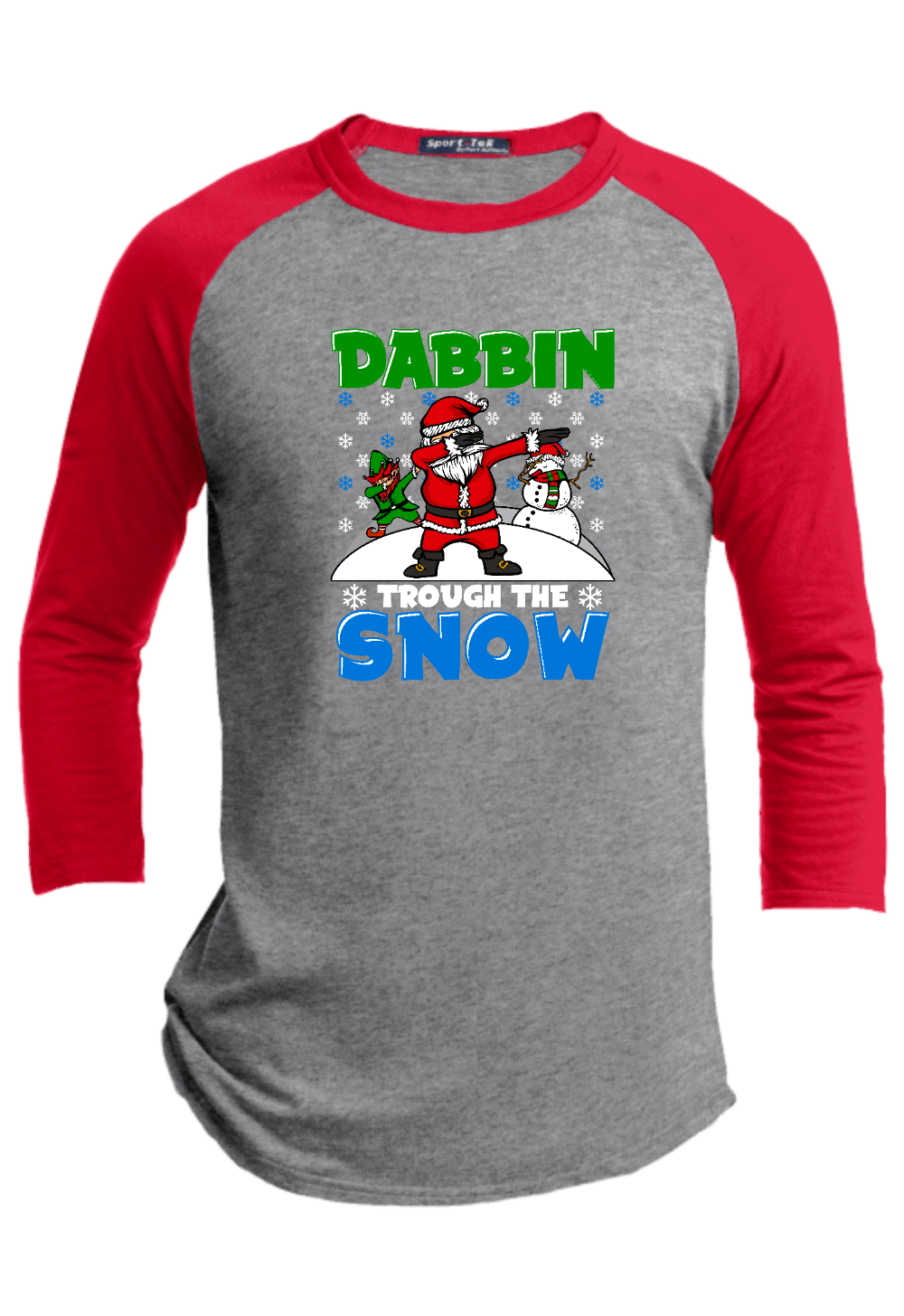 Dabbin Through the Snow Youth Christmas Raglan