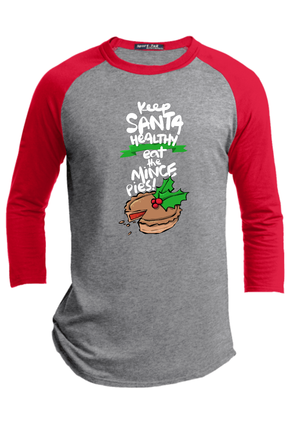 Keep Santa Healthy Eat the Mince Pies Youth Christmas Raglans