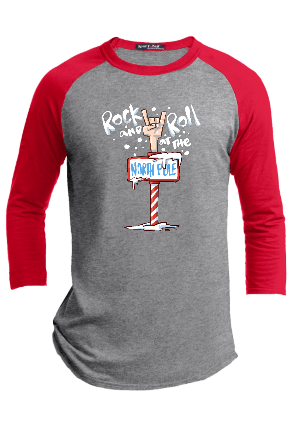 Rock and Roll at the North Pole Youth Christmas Raglan