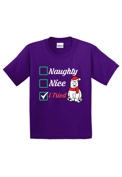 Naughty Nice I Tried Youth Christmas Shirt