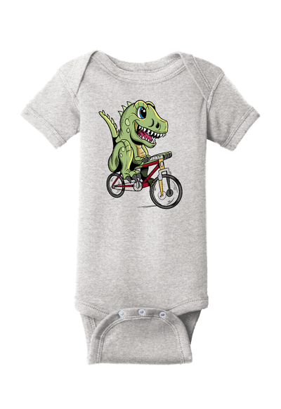 Dinosaur Riding a Bike Baby One Piece