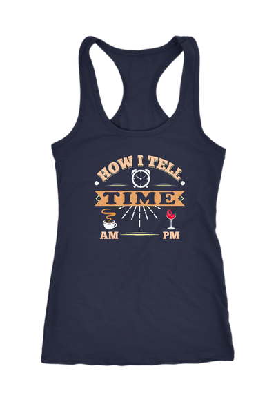 Wine AM Coffee PM Time Racerback Tank Top