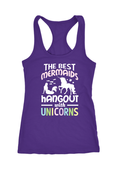 Best Mermaids Hangout with Unicorn Racerback Tank Tops