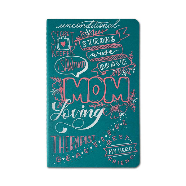 hand painted wood collage journal in a mom theme including multiple words, phrases, doodles and lettering styles to celebrate moms