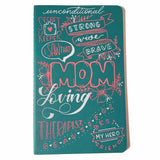 Hand painted mother's day journal with mix of calligraphy, typography and hand lettering with a collage of words and phrases about mom