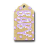 hand painted wooden gift tag that says baby in light purple with white and purple polka dots