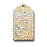 hand painted wooden gift tag that says best wishes in calligraphy in silver and white