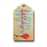 hand painted wooden gift tag that says happy birthday in blue and red and a red balloon