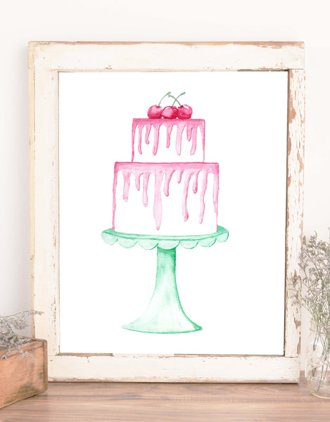 watercolor painted layered white cake with dripping pink frosting topped with three red cherries and sitting on a seafoam green scalloped cake stand